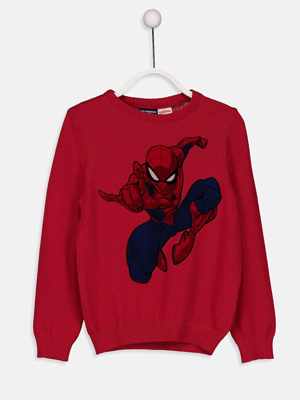 Kırmızı Erkek Çocuk Spiderman İnce Triko Kazak 8W6244Z4 LC Waikiki