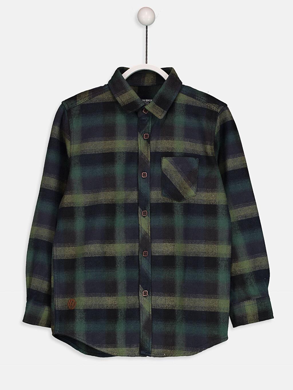 %100 Pamuk Flanel Uzun Kol Aksesuarsız Gömlek Ekose Standart Uzun Kollu Flanel Ekose Gömlek