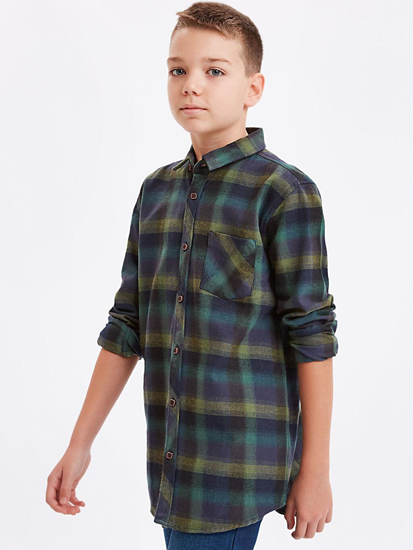 Yeşil Uzun Kollu Flanel Ekose Gömlek 8W6898Z4 LC Waikiki