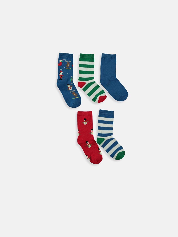 %76 Pamuk %22 Poliamid %2 Elastan Kendinden Desenli Dikişli Soket Çorap Erkek Çocuk Soket Çorap 5'li