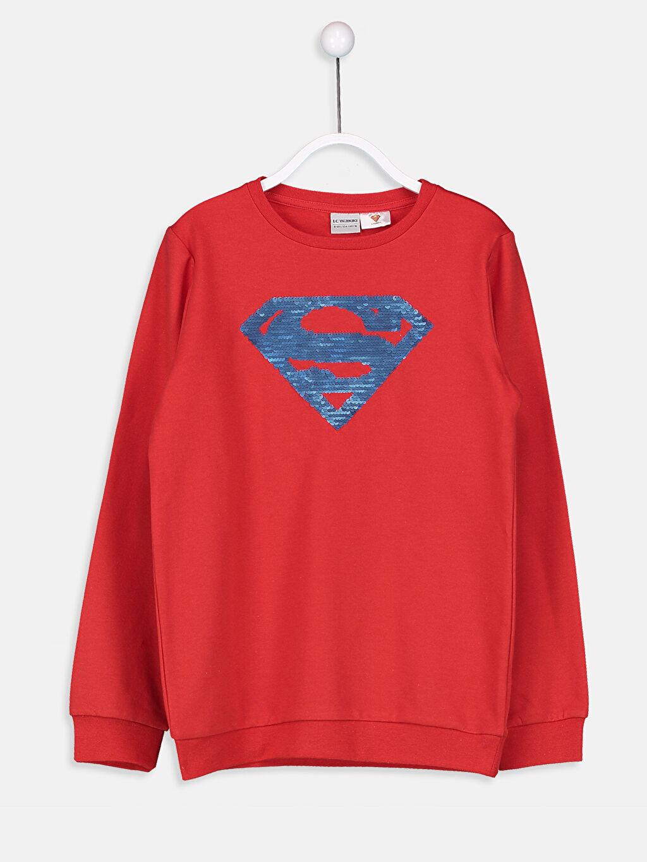 %68 Pamuk %32 Polyester Bisiklet Yaka Düz İki İplik İçi Tüylü Superman Sweatshirt Erkek Çocuk Superman Sweatshirt