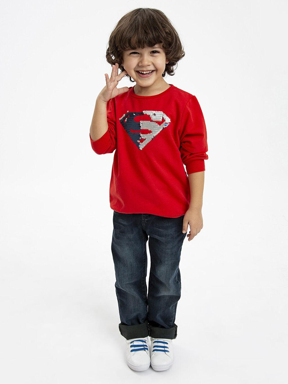 Kırmızı Erkek Çocuk Superman Sweatshirt 8WN102Z4 LC Waikiki