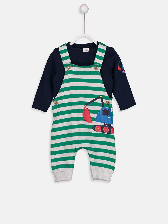 Yeşil Erkek Bebek Baskılı Tişört ve Salopet 8W1540Z1 LC Waikiki