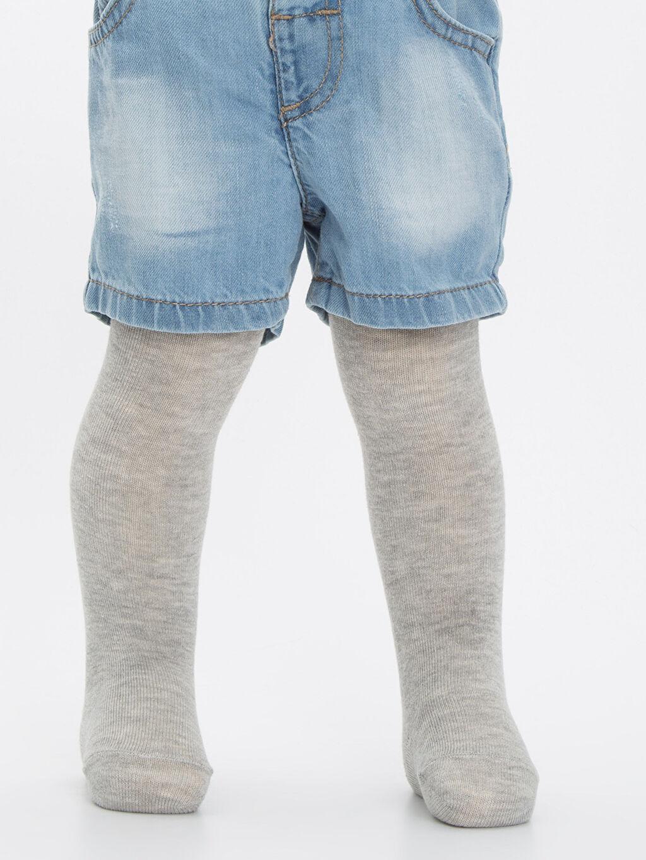 %55 Pamuk %23 Polyester %20 Poliamid %2 Elastan Orta Kalınlık Külotlu Çorap Düz Dikişsiz Erkek Bebek Külotlu Çorap 2'li