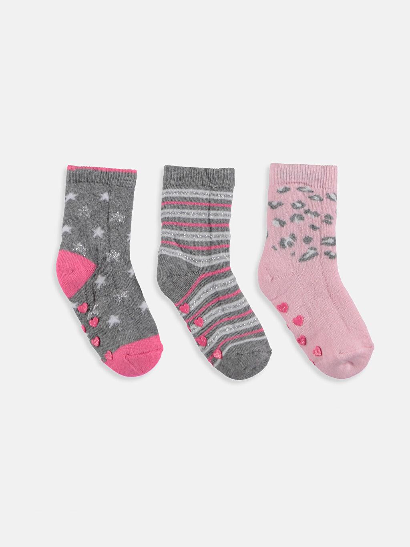 %84 Pamuk %1 Polyester %13 Poliamid %1 Elastan %1 Metalik iplik Havlu Kumaş Dikişli Kalın Soket Çorap Diğer Kız Bebek Soket Çorap 3'lü