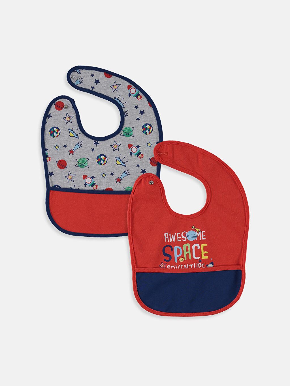 %100 Pamuk İnterlok Mama Önlüğü Erkek Bebek Mama Önlüğü 2'li
