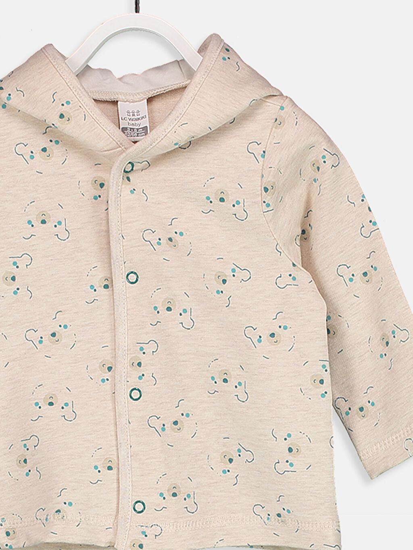%97 Pamuk %3 Elastan Erkek Bebek Kapüşonlu Sweatshirt