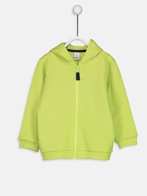Yeşil Erkek Bebek Fermuarlı Kapüşonlu Sweatshirt 8WM774Z1 LC Waikiki