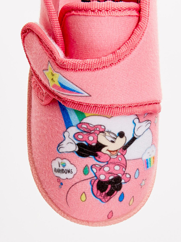 LC Waikiki Pembe Kız Bebek Minnie Mouse Desenli Ev Ayakkabısı