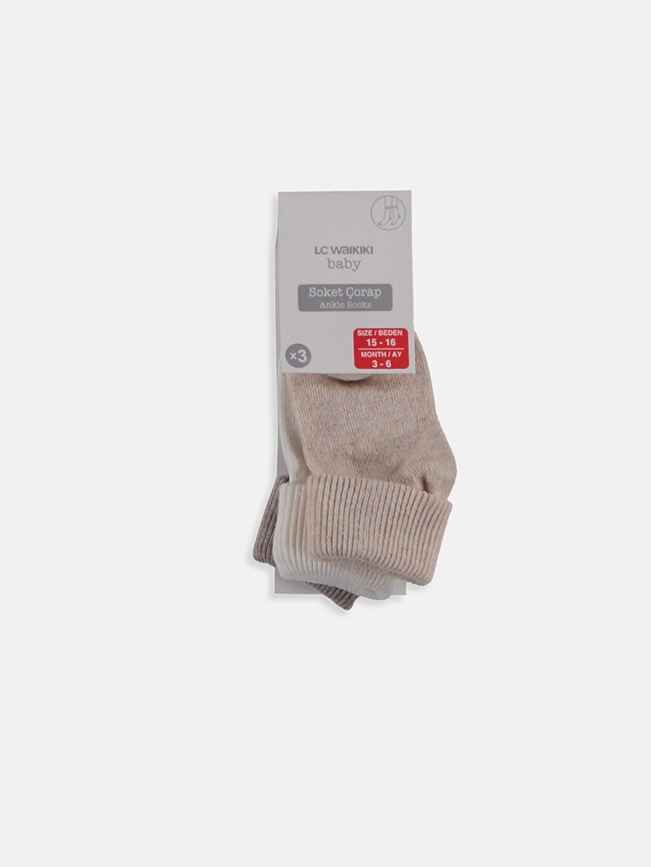 Ekru Erkek Bebek Soket Çorap 3'lü 8WO712Z1 LC Waikiki