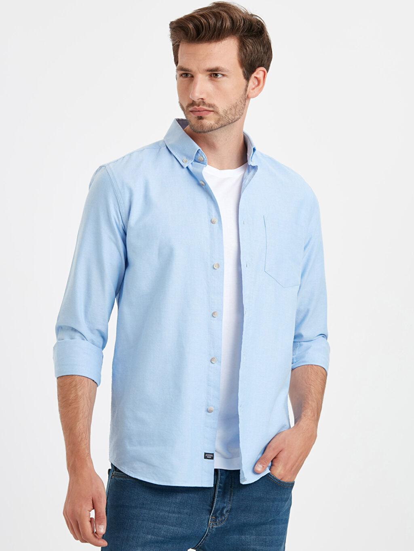 Mavi Regular Fit Uzun Kollu Oxford Gömlek 9S0939Z8 LC Waikiki