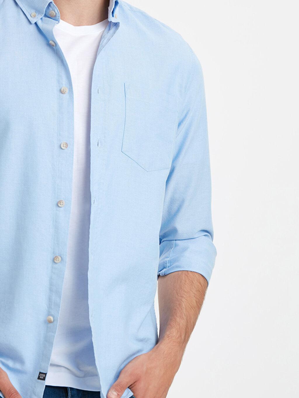 %100 Pamuk Regular Fit Uzun Kollu Oxford Gömlek