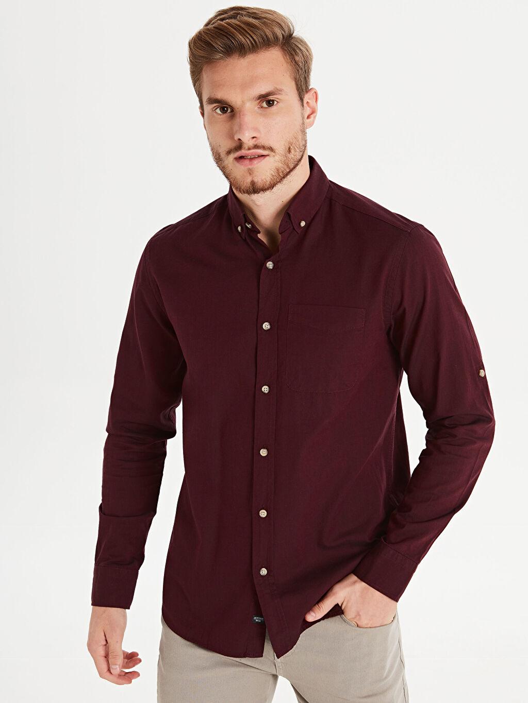 %100 Pamuk %100 Pamuk Standart Patlı Oxford Uzun Kol Gömlek Düz Düğmeli Gömlek Yaka Regular Fit Uzun Kollu Oxford Gömlek