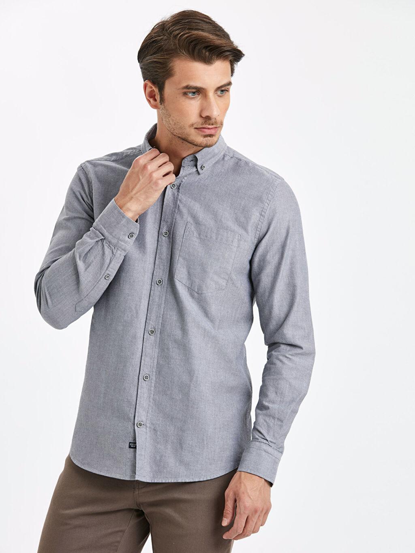Antrasit Regular Fit Uzun Kollu Oxford Gömlek 9S0939Z8 LC Waikiki