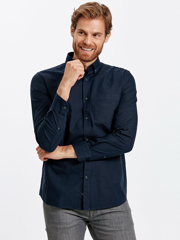 Lacivert Regular Fit Uzun Kollu Oxford Gömlek 9S0939Z8 LC Waikiki