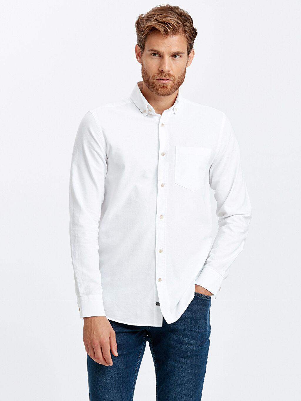 Beyaz Regular Fit Uzun Kollu Oxford Gömlek 9S0939Z8 LC Waikiki