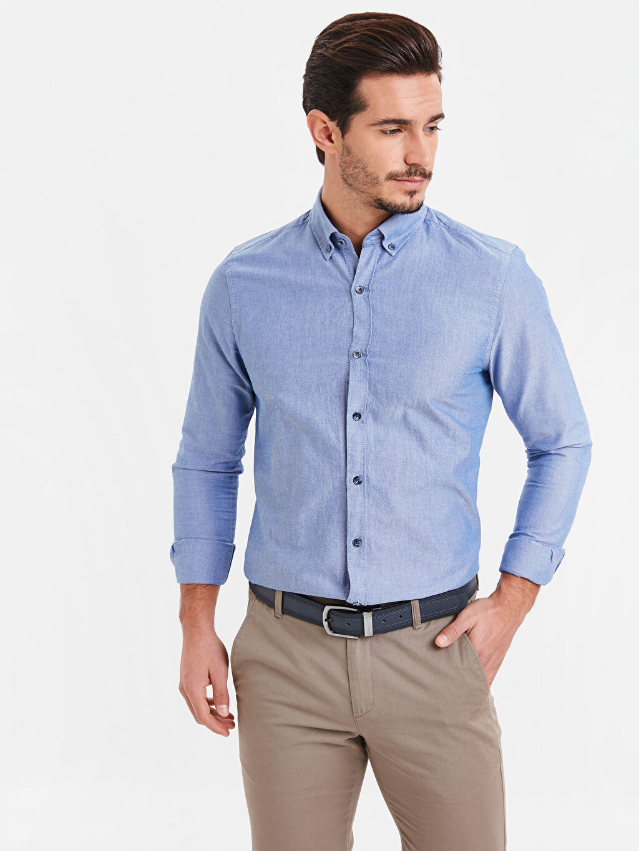 Mavi Slim Fit Uzun Kollu Oxford Gömlek 9S0944Z8 LC Waikiki