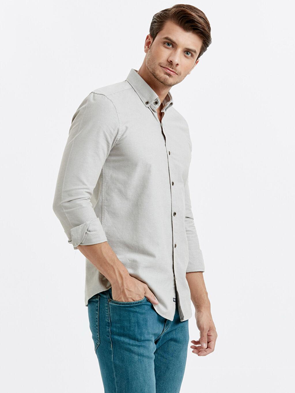 Bej Slim Fit Uzun Kollu Oxford Gömlek 9S0944Z8 LC Waikiki