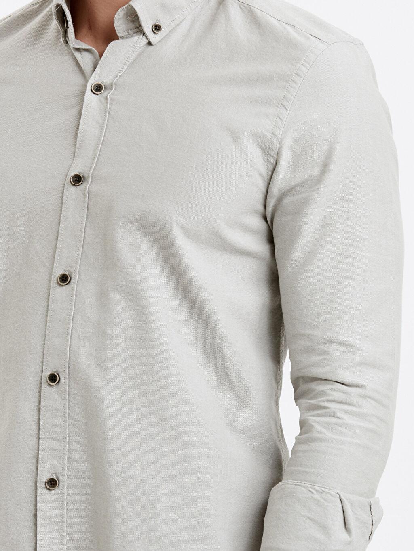 %100 Pamuk Slim Fit Uzun Kollu Oxford Gömlek