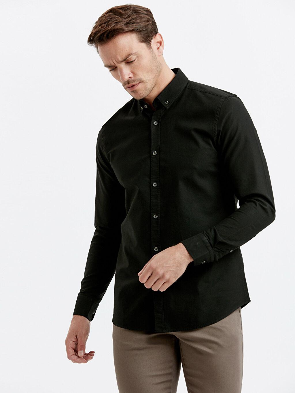 Siyah Slim Fit Uzun Kollu Oxford Gömlek 9S0944Z8 LC Waikiki