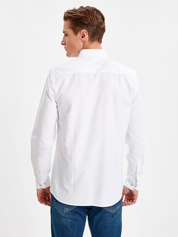%100 Pamuk %100 Pamuk Dar Patlı Oxford Uzun Kol Gömlek Düz Düğmeli Gömlek Yaka Slim Fit Uzun Kollu Oxford Gömlek