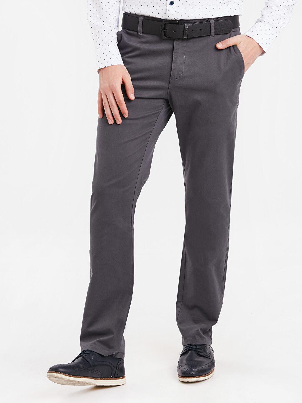 %97 Pamuk %3 Elastan Gabardin Chino Pantolon Düz Normal Kalıp Chino Pantolon
