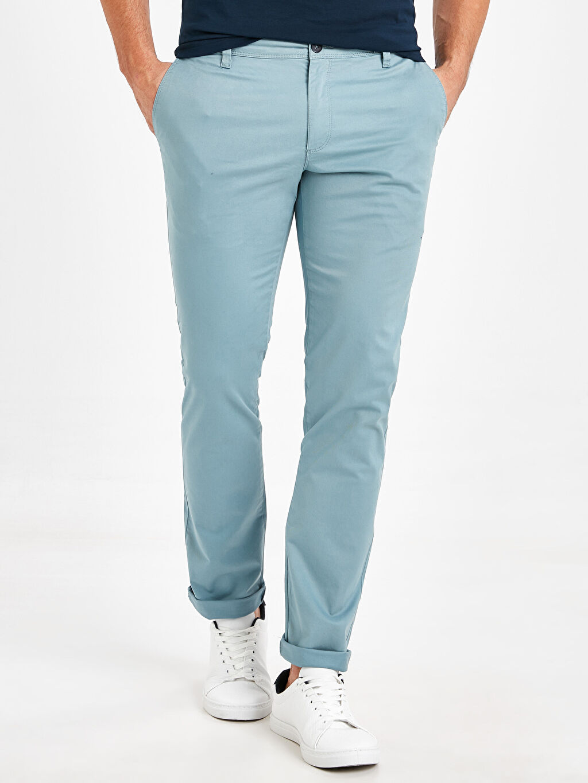 %97 Pamuk %3 Elastan Skinny Gabardin Chino Pantolon Yüksek Pamuk İçerir Ekstra Dar Kalıp Pamuklu Chino Pantolon