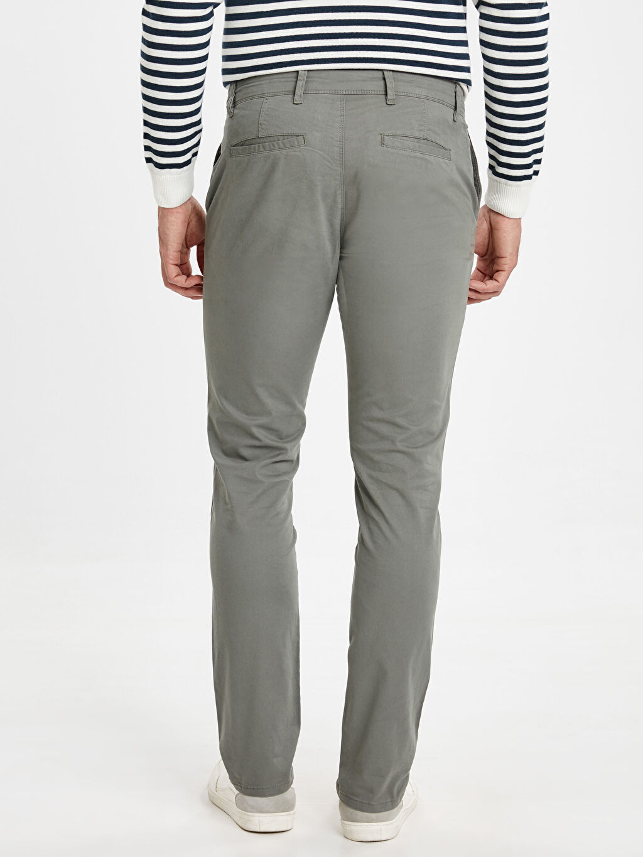 Erkek Ekstra Dar Kalıp Pamuklu Chino Pantolon