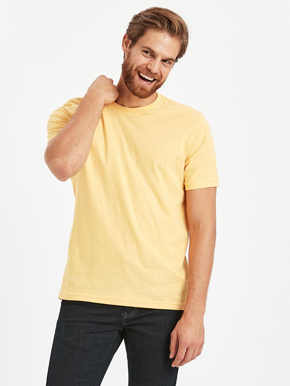 Sarı Bisiklet Yaka Basic Tişört 9S1595Z8 LC Waikiki