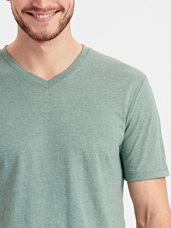%34 Pamuk %66 Polyester V Yaka Basic Tişört