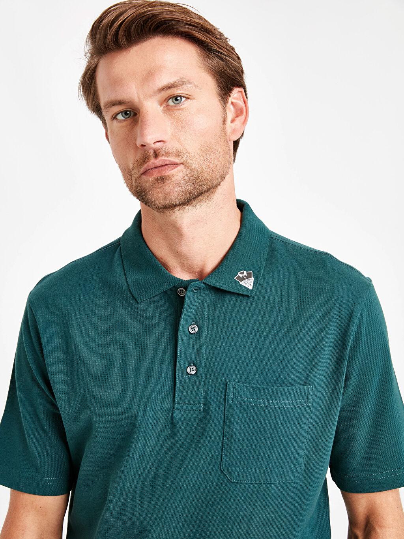 %100 Pamuk Baskılı Polo Yaka Kısa Kollu Pike Tişört