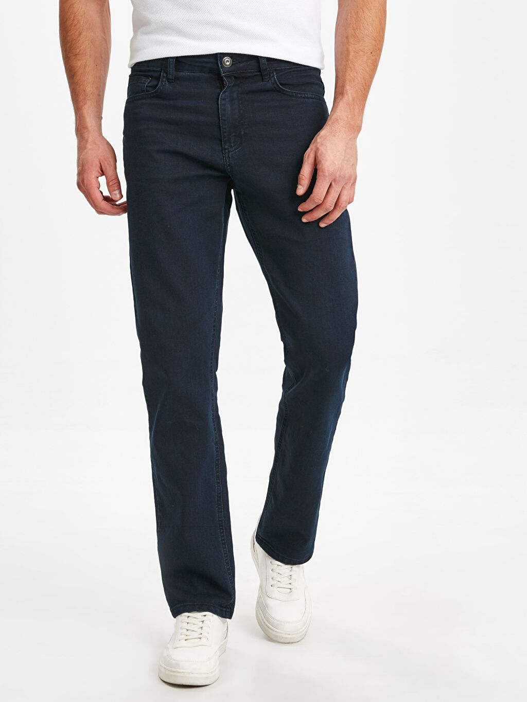 %77 Pamuk %21 Polyester %2 Elastan Jean Rahat Kalıp Normal Bel 890 Rahat Kalıp Jean Pantolon