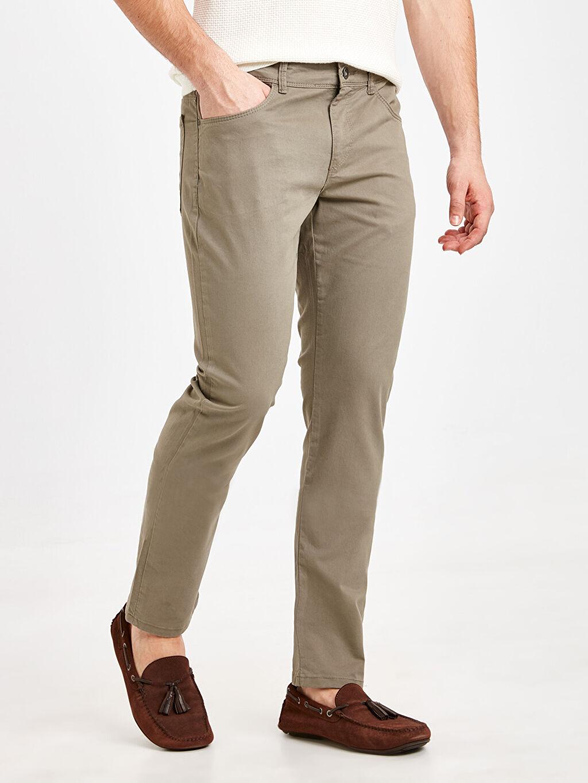 %97 Pamuk %3 Elastan Dar Beş Cep Pantolon Gabardin Dar Kalıp Gabardin Chino Pantolon