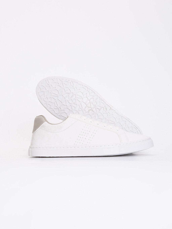Diğer malzeme (poliüretan) Bağcık Sneaker Erkek Beyaz Bağcıklı Spor Ayakkabı