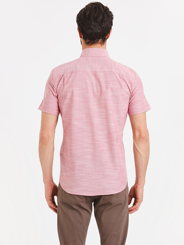 %100 Pamuk %100 Pamuk Gömlek Standart Baskılı Patlı Kısa Kol Düğmeli Gömlek Yaka Regular Fit Kısa Kollu Poplin Gömlek