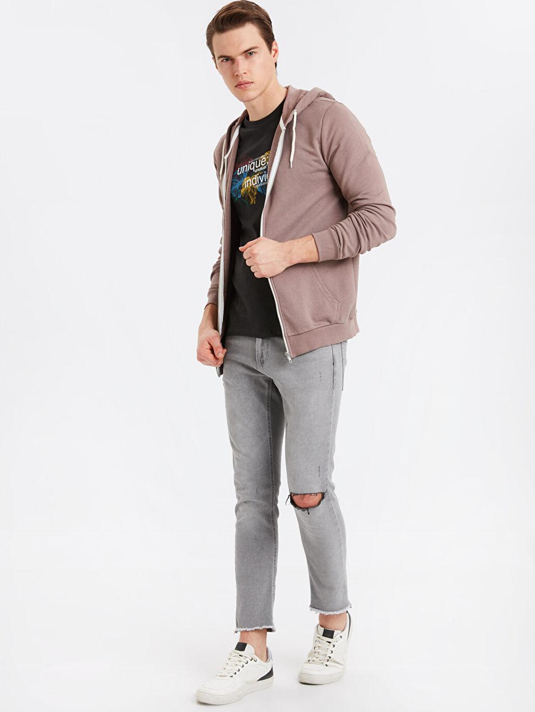 Erkek Kapüşonlu Fermuarlı Sweatshirt