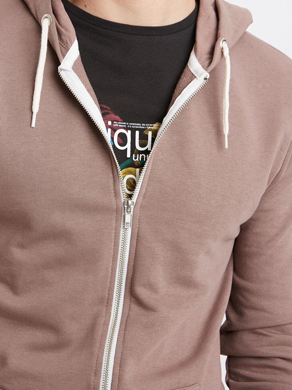 %70 Pamuk %30 Polyester Kapüşonlu Fermuarlı Sweatshirt