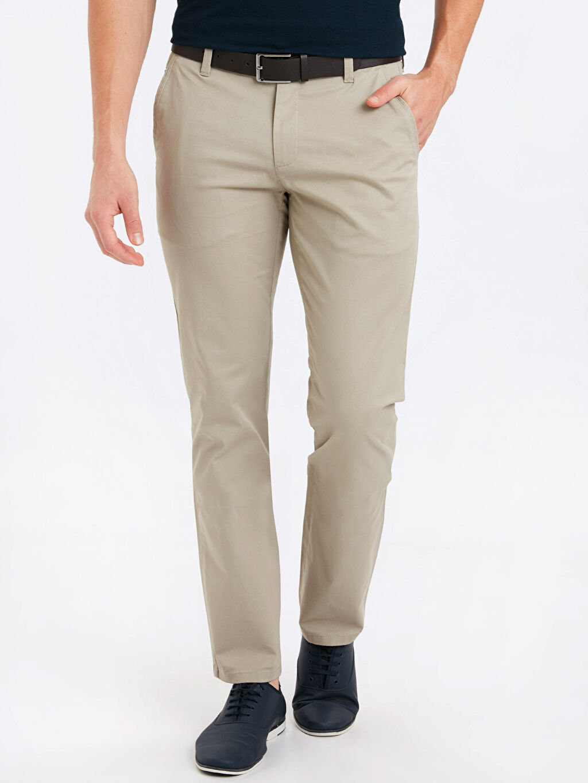 Normal Bel Uzun Düz Standart Pantolon Gabardin Kemer Yüksek Pamuk İçerir Standart Kalıp Gabardin Pantolon