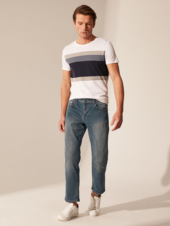 %91 Pamuk %7 Elastomultiester %2 Elastane Standart Normal Bel Jean 879 Regular Fit Jean Pantolon