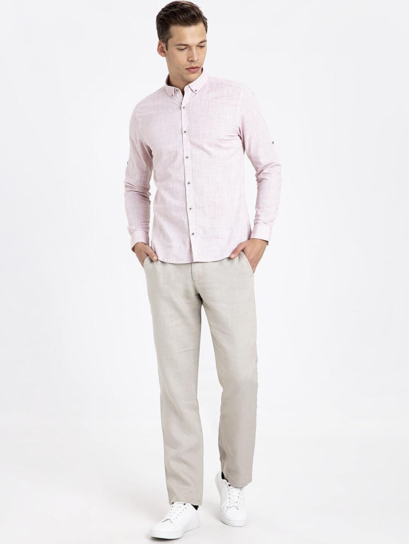 Erkek Slim Fit Uzun Kollu Dokulu Gömlek
