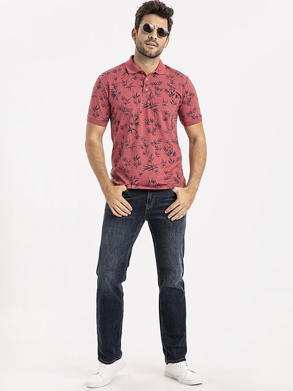 %49 Pamuk %51 Polyester Regular Fit Polo Yaka Baskılı Kısa Kollu Tişört
