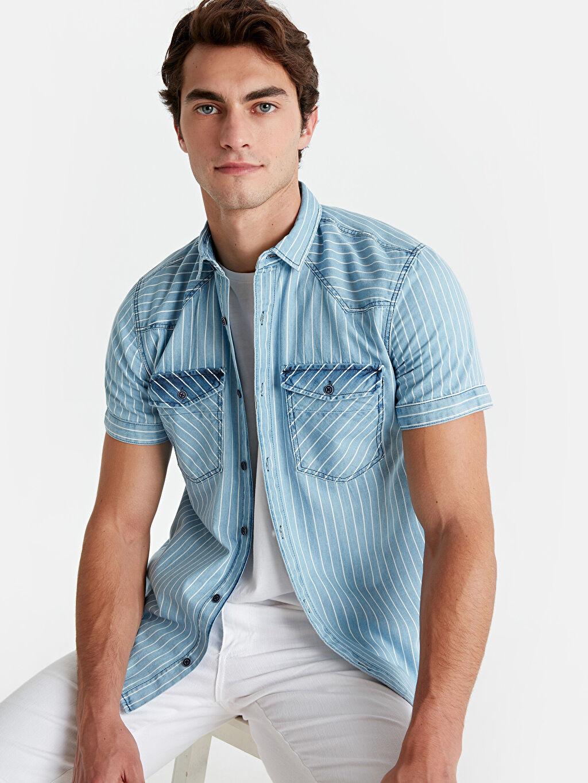 İndigo Slim Fit Çizgili Kısa Kollu Jean Gömlek 9S9304Z8 LC Waikiki