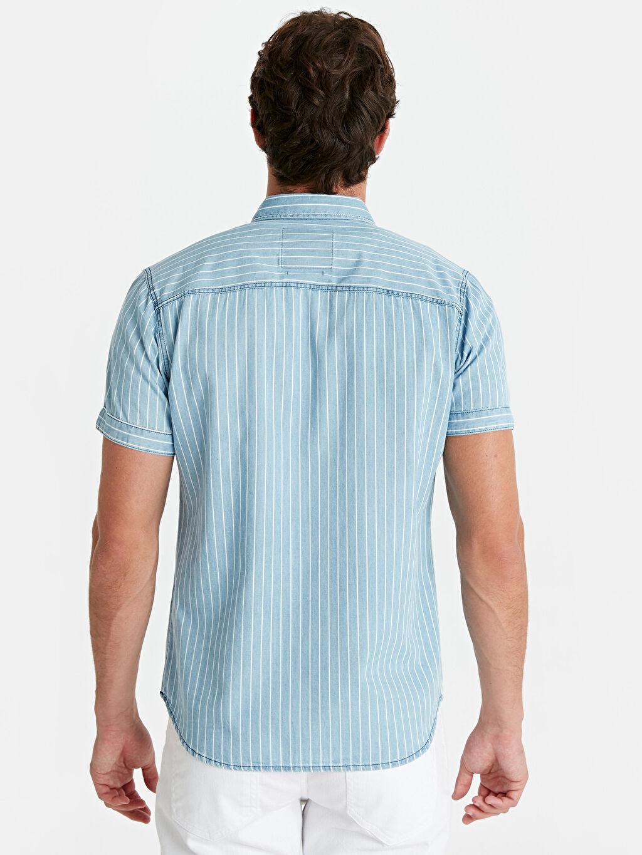 %100 Pamuk %100 Pamuk Jean Gömlek Dar Çizgili Slim Fit Çizgili Kısa Kollu Jean Gömlek
