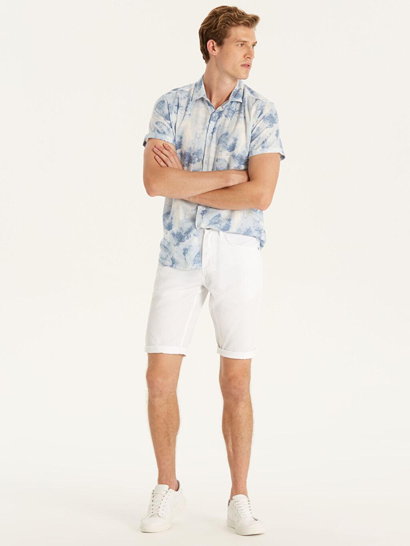 Beyaz Slim Fit Gabardin Bermuda Şort 9SH491Z8 LC Waikiki
