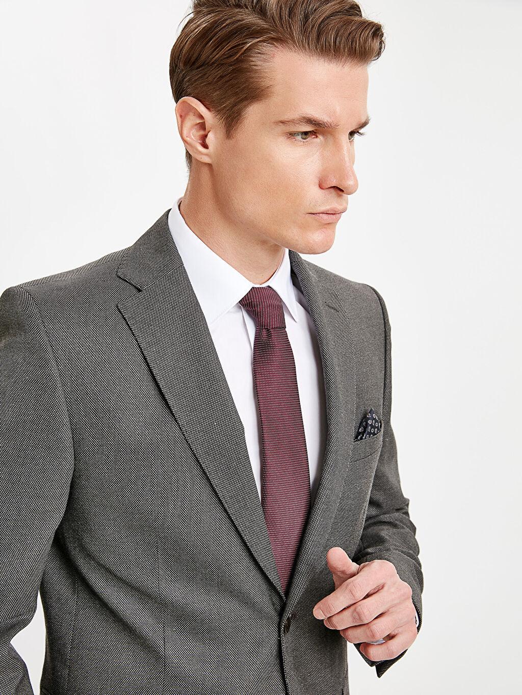 %73 Polyester %2 Elastan %25 Viskoz %100 Polyester Baskılı Dar Blazer Ceket Astarlı Dar Kalıp Takım Elbise Ceketi