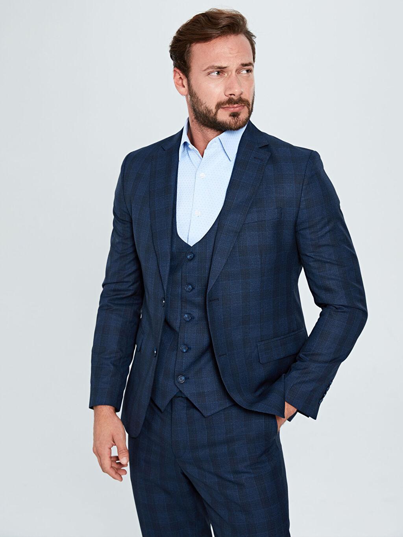 %65 Polyester %35 Viskon %100 Polyester Blazer Ceket Astarlı Dar Dar Kalıp Ekose Takım Elbise Ceketi