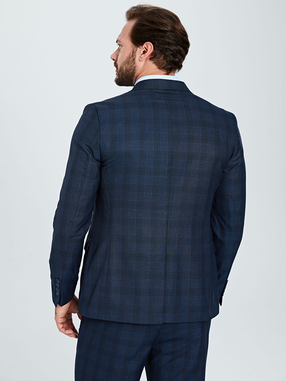 %65 Polyester %35 Viskon Dar Kalıp Ekose Takım Elbise Ceketi