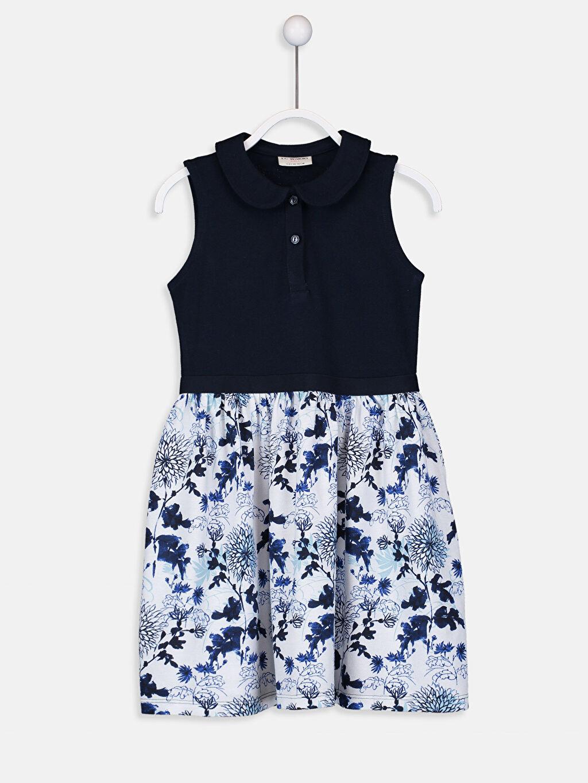 Lacivert Kız Çocuk Çiçek Desenli Elbise 9SK021Z4 LC Waikiki