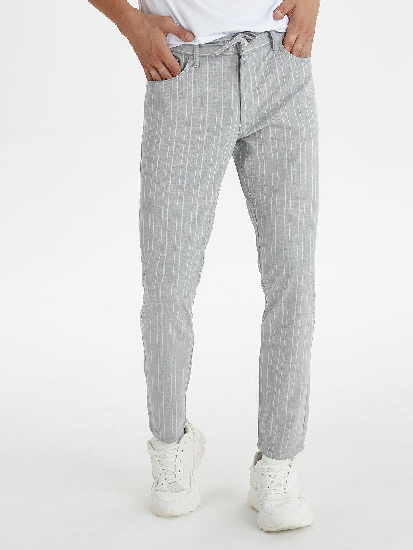 %64 Polyester %2 Elastan %34 Viskon Normal Bel Dar Pantolon Crop Bilek Boy Çizgili Slim Fit Bilek Boy Çizgili Poliviskon Pantolon