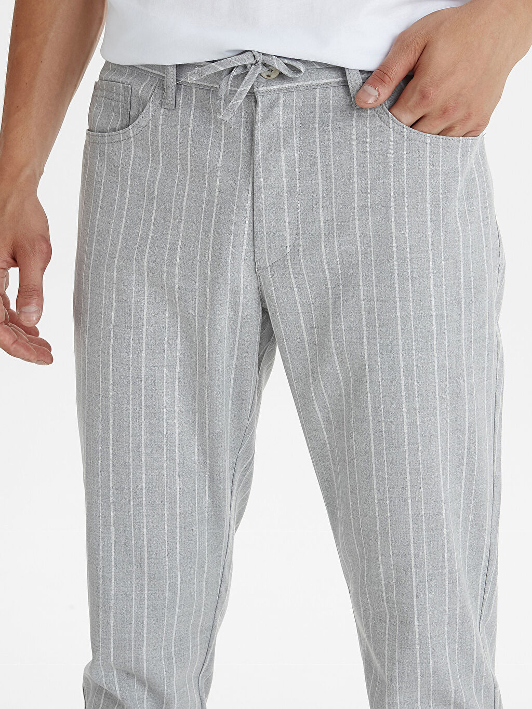 %64 Polyester %2 Elastan %34 Viskon Slim Fit Bilek Boy Çizgili Poliviskon Pantolon